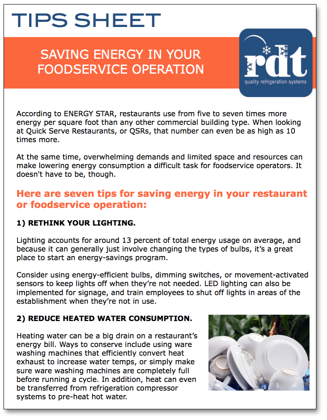 Saving Energy in Your Foodservice Operation Tips Sheet-1